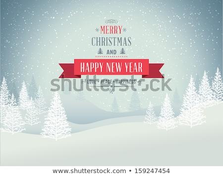 Karácsonyfa hó domb lucfenyő fenyőfa játékok Stock fotó © romvo