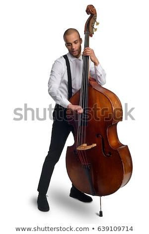 человека играет удвоится бас силуэта древесины Сток-фото © 5xinc