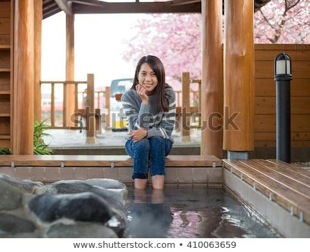 ног термальная ванна закат из отражение Сток-фото © pancaketom