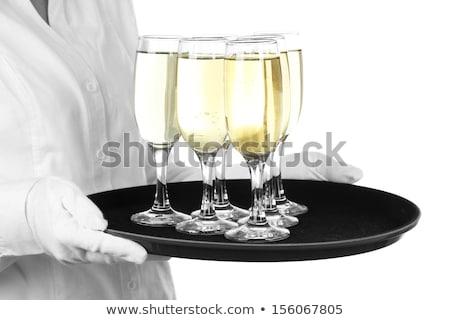 mão · bandeja · champanhe · óculos · garrafa - foto stock © denismart
