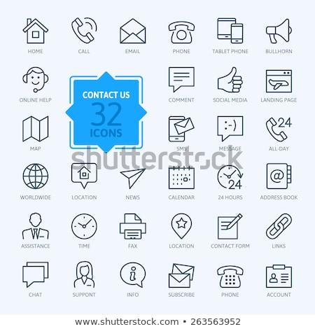 icon · vintage · telefoon · witte · ontwerp · technologie - stockfoto © smoki