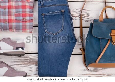 Blauw · lange · mouw · shirt · geïsoleerd · witte · ontwerp - stockfoto © gsermek