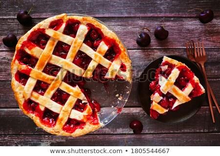 taart · eigengemaakt · nectarine · frambozen · vla · ondiep - stockfoto © m-studio