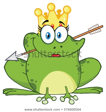 Cute Princess Frog Cartoon Mascot Character With Crown And Arrow Stock photo © hittoon