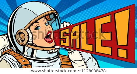 Wow pop art vrouw astronaut retro Stockfoto © studiostoks