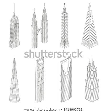 construction of twin skyscraper stock photo © joyr
