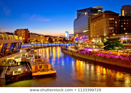 Stock photo: Vienna city modern riverfront evening view