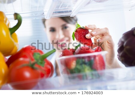Foto stock: Toma · verduras · frescas · nevera · moderna · casa