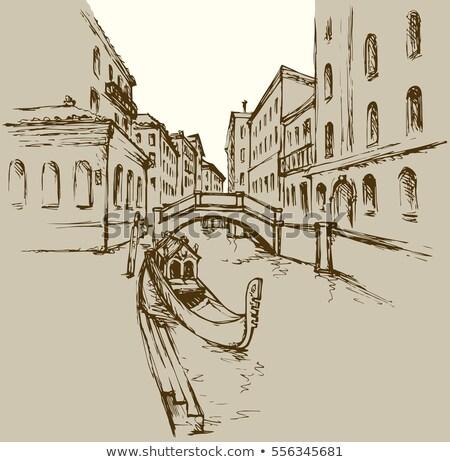 ヴェネツィア 住宅 水 スケッチ スタイル 景観 ストックフォト © NikoDzhi