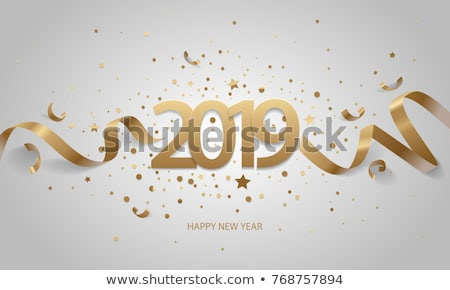 Stock photo: Happy New Year 2019. Golden numbers with ribbons and confetti on a white background. Vector illustra