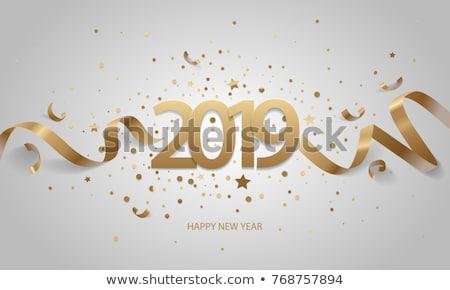Happy new year altın sayılar konfeti beyaz Stok fotoğraf © olehsvetiukha
