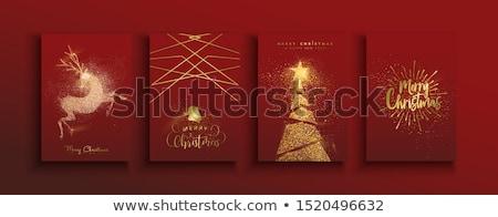 ストックフォト: クリスマス · グリーティングカード · 金 · グリッター · トナカイ · 陽気な