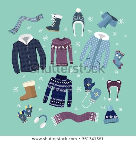 зима одежды Элементы иллюстрация различный шарф Сток-фото © lenm