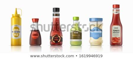flessen · ketchup · mosterd · traditioneel · voedsel · glas - stockfoto © lenm