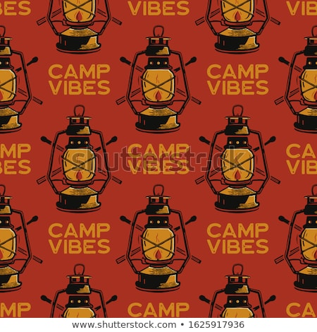 retro camp seamless pattern with lanterns and trees vintage hand drawn concept old style colors s stock photo © jeksongraphics