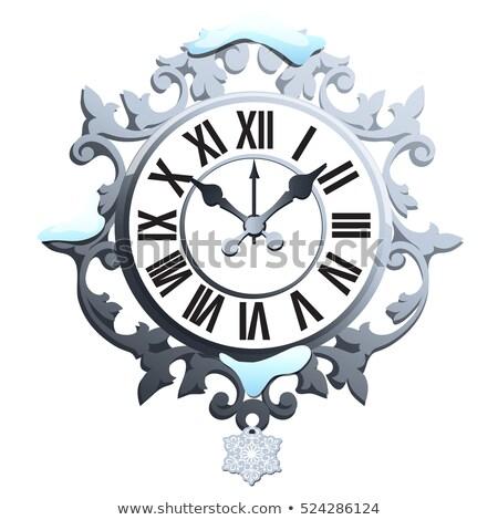 Vintage mur horloge composer flocon de neige Photo stock © Lady-Luck