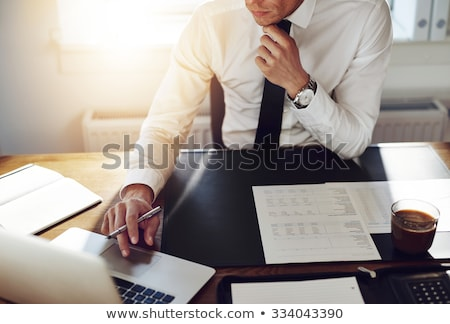 Business man works in office with laptop. Concept of internet network. double exposure Stock photo © alphaspirit