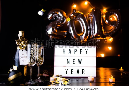 Stock photo: Happy new year 2019 party toast gold glitter card