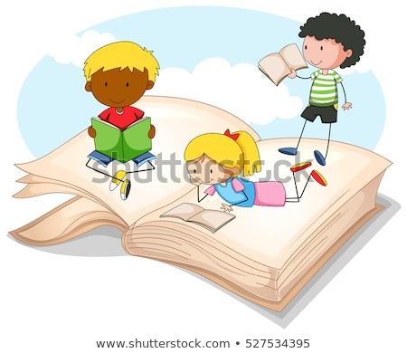 Drie kinderen lezing verhalenboek illustratie kind Stockfoto © colematt