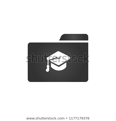 Folder Icon with graduation cap in trendy flat style isolated on white background, for your web site Stock photo © kyryloff