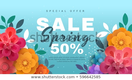 Spring sale background banner beautiful pink flower. Vector illustration. Promo code card Stock photo © Natali_Brill