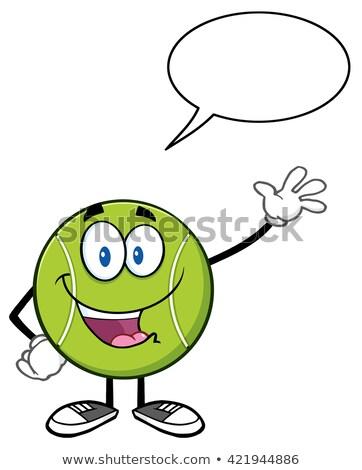 Aranyos teniszlabda rajzfilmfigura integet szövegbuborék izolált Stock fotó © hittoon
