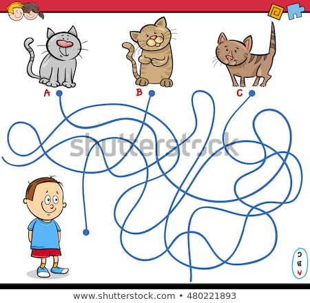 cartoon maze game with boy and kitten stock photo © izakowski