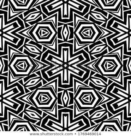 monocromático · sem · costura · telha · padrão · caleidoscópio - foto stock © lissantee