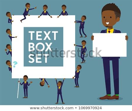 type · kort · haar · zakenman · ingesteld · afro-amerikaanse - stockfoto © toyotoyo