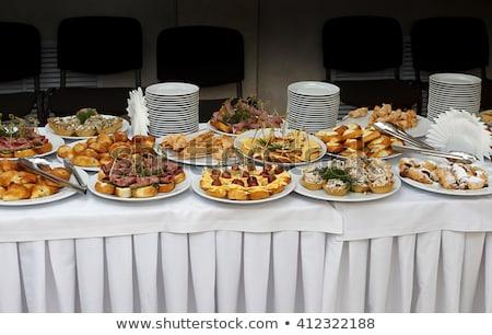ingericht · buffet · tabel · gebak · snacks · glas - stockfoto © ruslanshramko