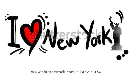 Szeretet New York felirat felhőkarcoló illusztráció épület Stock fotó © colematt