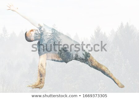 young people do stretching at the gym double exposure stock photo © alphaspirit