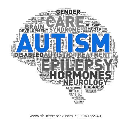 Agy forma autizmus szófelhő címkék illusztráció Stock fotó © nasirkhan