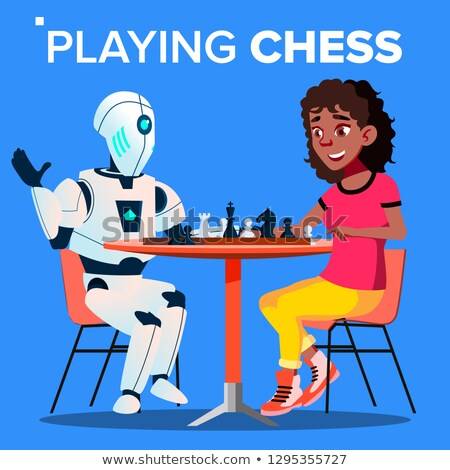 Robot Playing Chess With Woman Vector. Isolated Illustration Stock photo © pikepicture