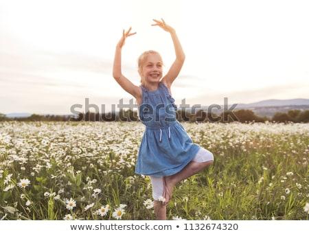 Enfant vert Daisy herbe été parc Photo stock © Lopolo