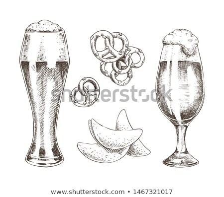 Pair of Beer Goblets with Foamy Ale Graphic Art Stock photo © robuart