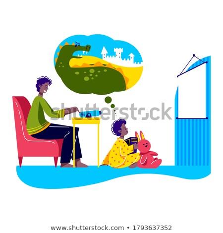 Gyerek fiú történet projektor színes illusztráció Stock fotó © lenm
