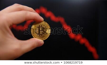Bitcoin caída abajo negocios azul web Foto stock © alexaldo