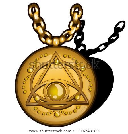 Magic round golden pendant with the image of the eye in the triangle isolated on white background. V Stock photo © Lady-Luck