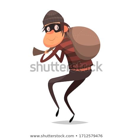 Doodle slechte dief karakter illustratie man Stockfoto © colematt