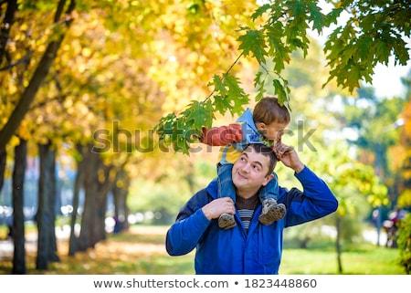 Gelukkig vader zoon najaar esdoorn Stockfoto © dolgachov