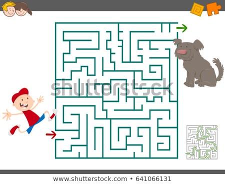 Laberinto juego Cartoon nino perro ilustración Foto stock © izakowski