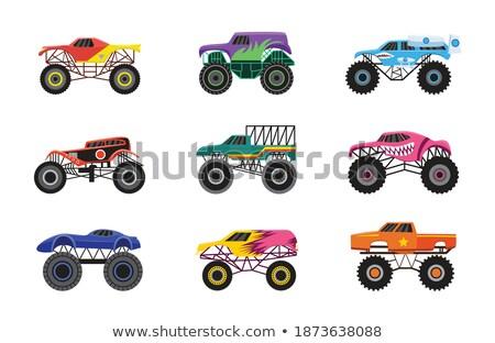 Cartoon монстр грузовика драйвера изолированный белый Сток-фото © mechanik