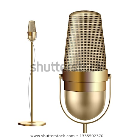 Retro Golden Microphone With Stand Vector. Musician Tool. Media Vocal Element. Illustration Stock photo © pikepicture