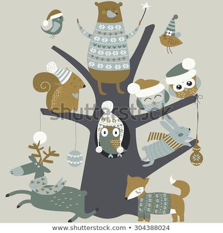 Joyeux Noël bannière Fox tricoté chandail Photo stock © robuart