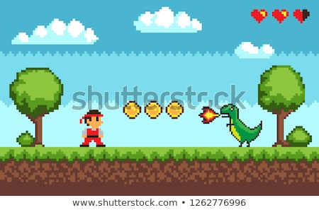 Old Pixel Game Man and Dragon with Fire Vector Stock photo © robuart