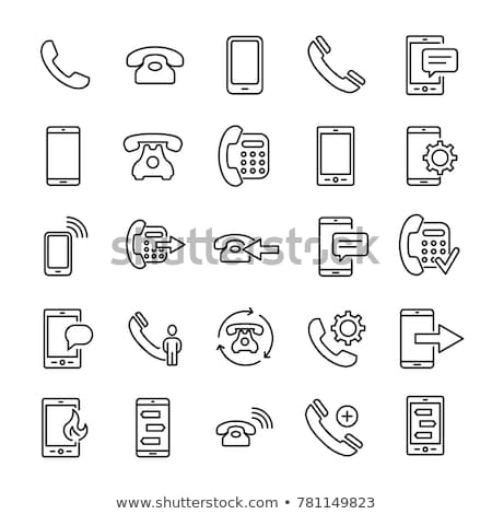 Mobile phone icon vector, line art outline style of smartphone symbol, simple linear cellphone picto stock photo © kyryloff