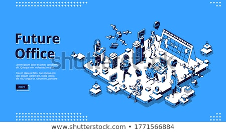 Foto d'archivio: Human-robot interaction isometric 3D landing page.