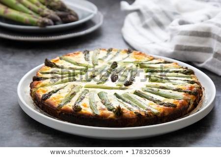 ストックフォト: オープン · パイ · アスパラガス · チェリートマト · 木製のテーブル · 食品