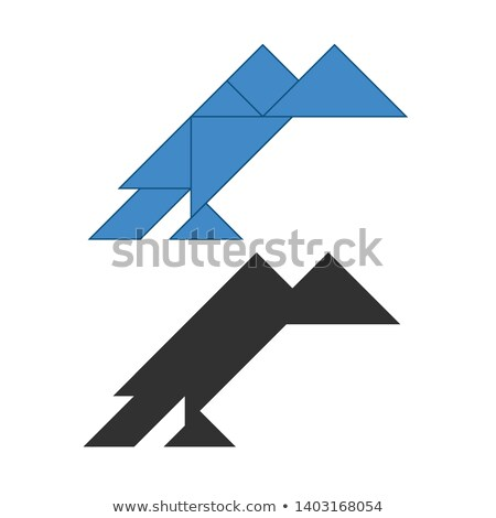 vulture Tangram. Traditional Chinese dissection puzzle, seven tiling pieces - geometric shapes: tria Stock photo © kyryloff